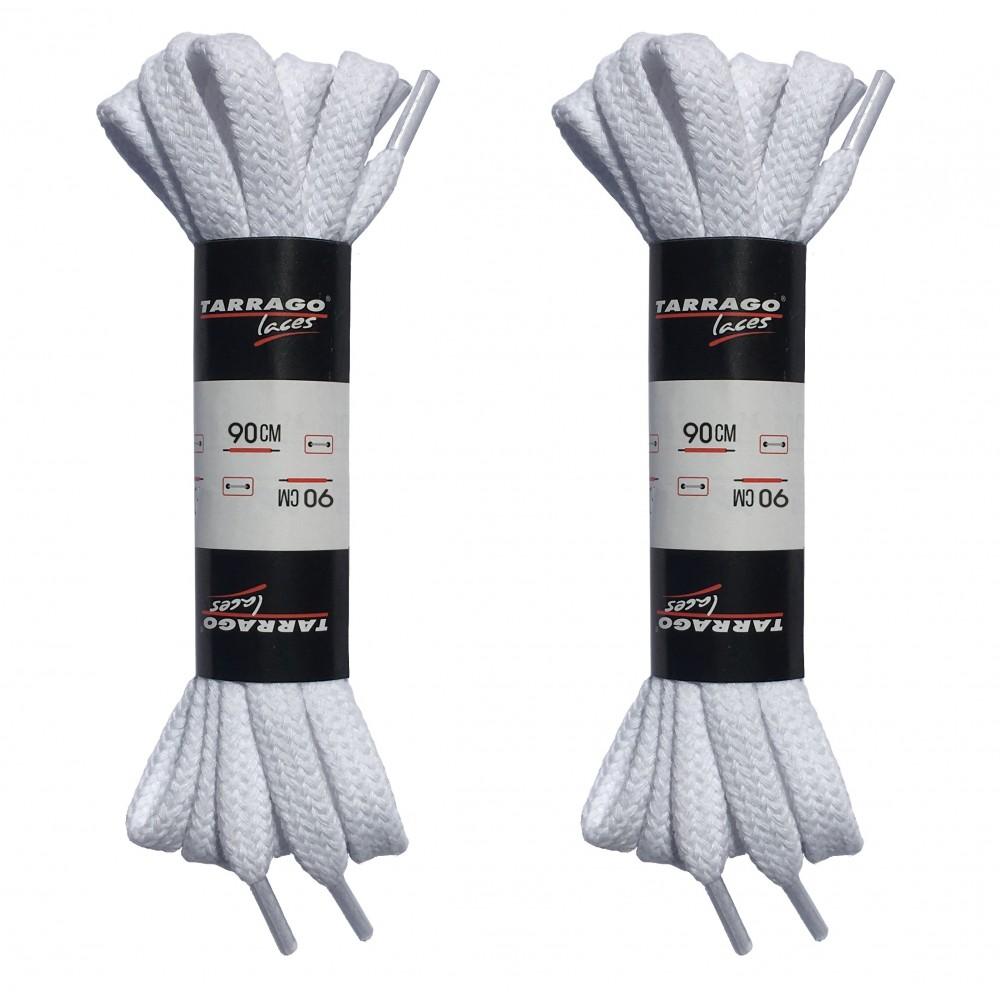 Шнурки белые 90 см, плоские, без пропитки, ширина 8мм, две пары, Tarrago