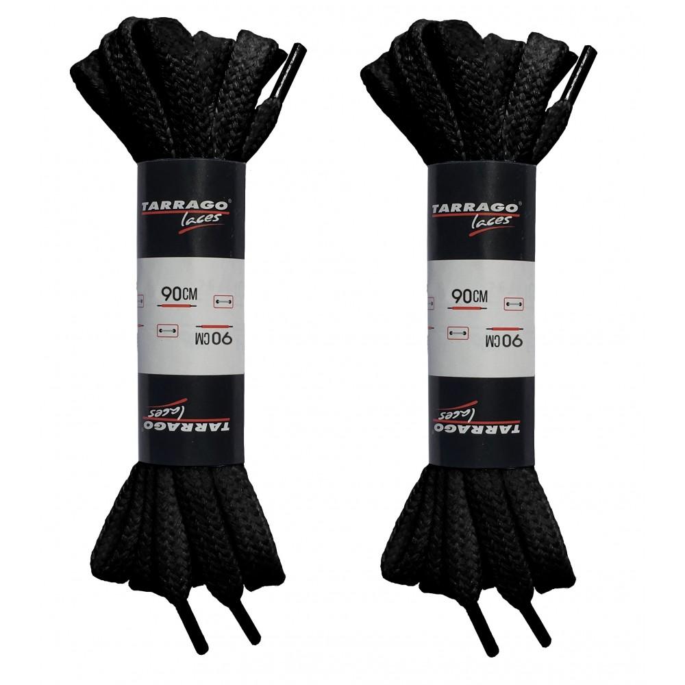 Шнурки черные 90 см, плоские, без пропитки, ширина 8мм, две пары, Tarrago