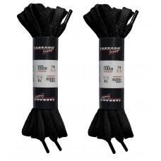 Шнурки черные 100 см, плоские, без пропитки, ширина 8мм, две пары, Tarrago