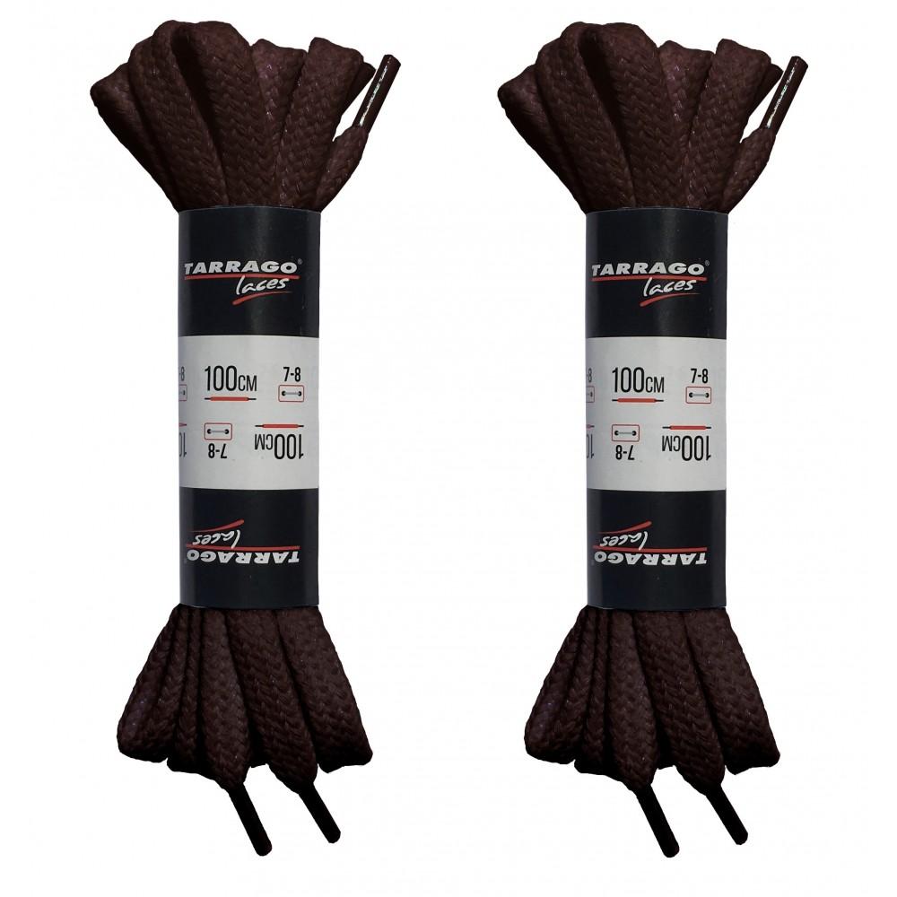 Шнурки коричневые 100 см, плоские, без пропитки, ширина 8мм, две пары, Tarrago