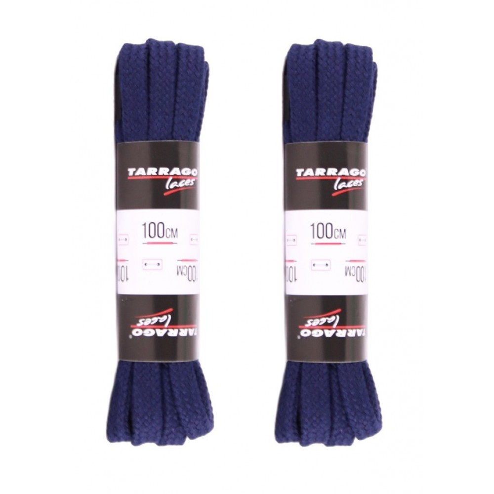 Шнурки темно-синие 100 см, плоские, без пропитки, ширина 8мм, две пары, Tarrago