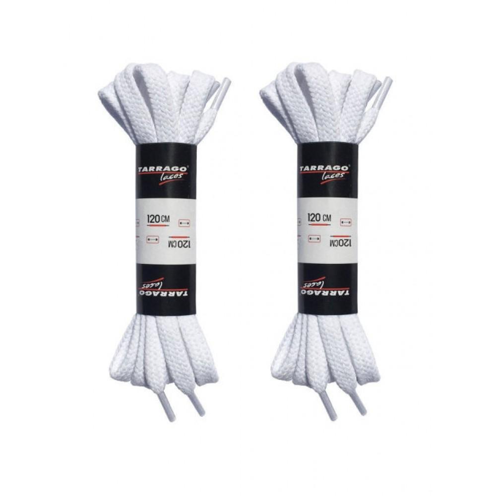 Шнурки белые 120 см, плоские, без пропитки, ширина 8мм, две пары, Tarrago