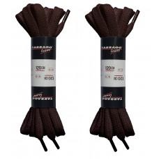 Шнурки коричневые 120 см, плоские, без пропитки, ширина 8мм, две пары, Tarrago